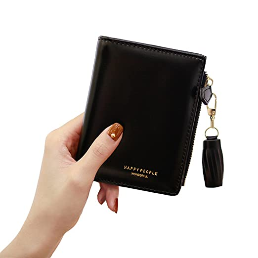b152bcf593f5a Wallet for Women Cute Leather Coin Purse for Girls Ladies Small Tassel  Short Wallet Card Holder