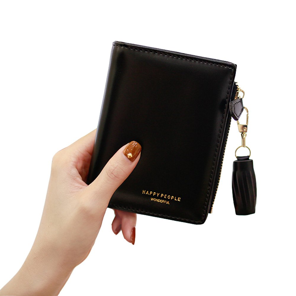 Wallet for Women Cute Leather Coin Purse for Girls Ladies Small Tassel Short Wallet Card Holder (Black)