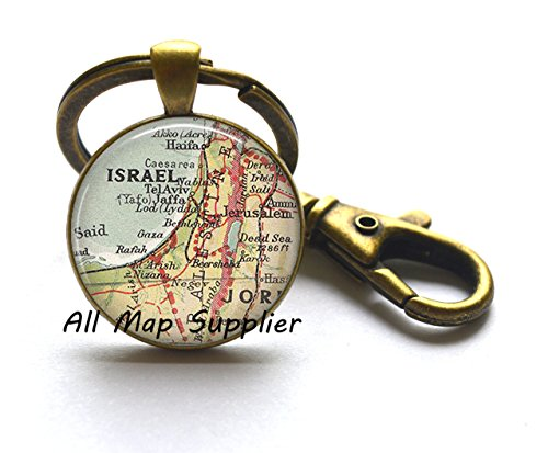 Charming Keychain,Israel map Key Ring, Israel Key Ring, Israel map jewelry, Israel map Keychain, A0297