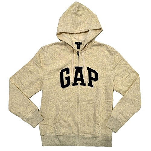 GAP Mens Fleece Arch Logo Full Zip Hoodie (XS, Cream) (Arch Logo Zip)