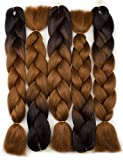 Forevery Braiding Hair Synthetic Ombre Hair Kanekalon Braiding High Temperature Fiber Crochet Twist Braids Black to Brown Ombre (24'', 3)