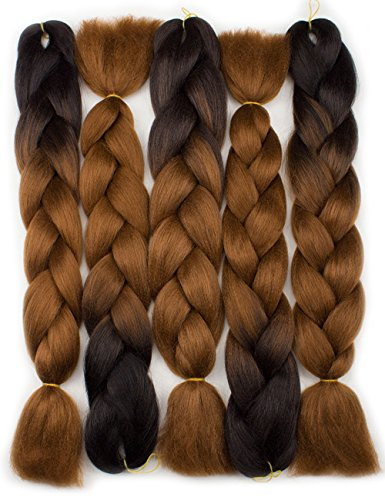 Forevery Braiding Hair Synthetic Ombre Hair Kanekalon Braiding High Temperature Fiber Crochet Twist Braids Black to Brown Ombre (24'', 3) by Forevery