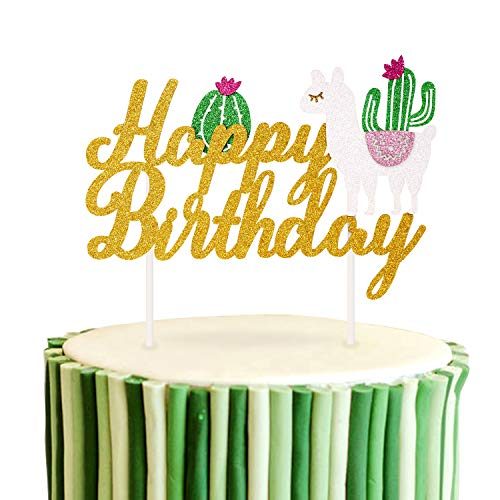 Llama Cactus Cake Topper Mexicoan Fiesta Themed Baby Girls Boys Birthday Party Cake Decorations