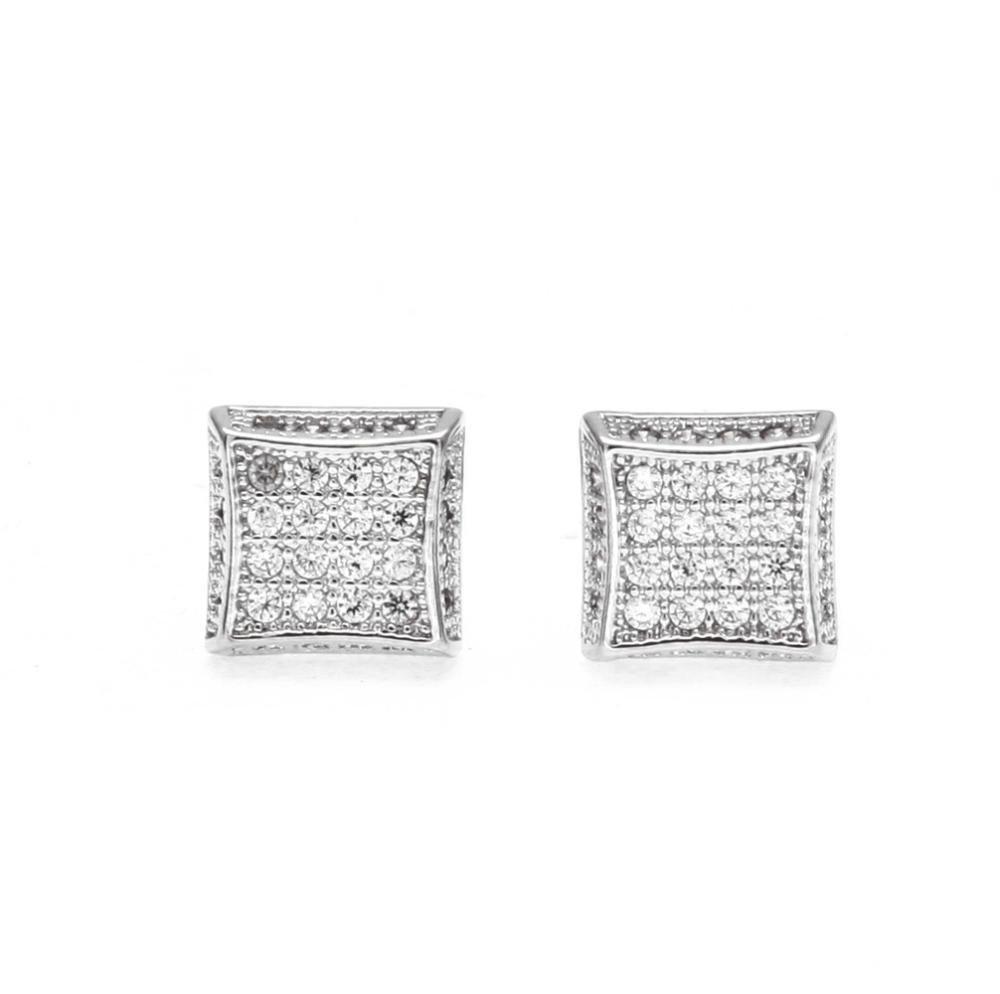 Ludage Earrings, Triple-A Zircon Inlaid Earring with Brass Earrings Men's Earrings