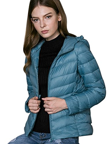 Chick Incappucciato Cherry Lake Impacchettabile Donna Corto ld Piumino Cappotto Blue RvxTgn6