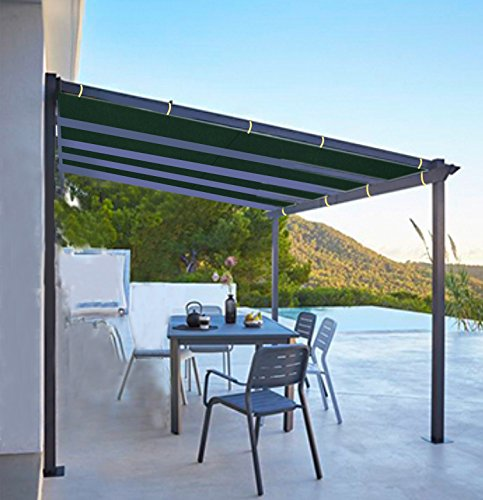 Shatex 8x10ft Dark Green Outdoor Waterproof Sunscreen Shade Panel Ready-to-tie Ropes designed for Pergola/Patio/Window/RV Awning by Shatex