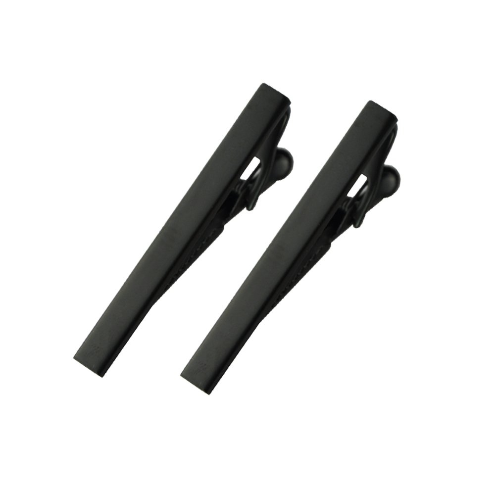 MeShow 2Pack 2.1 Inch Long Black Mens Tie Clip Clasp Bar Set For Regular Ties Spring Loaded End