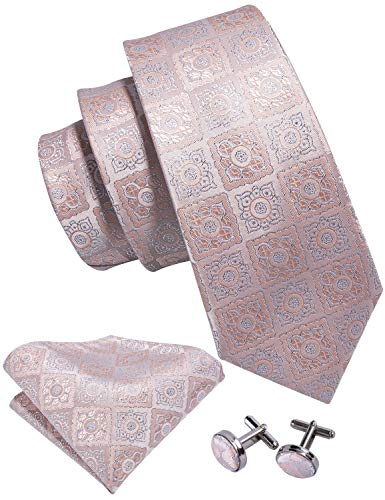Pink Ties for Men Woven Silk Gold Silver Necktie Set Handkerchief Cufflinks