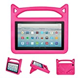 Fire HD 8 2017 / Fire HD 8 2016 Kids Case - Gogoing Light Weight Shockproof Cartoon Cover with Carrying Handle Stand Protector for New Amazon Fire 8 Tablet (2017/2016 Release) Pink