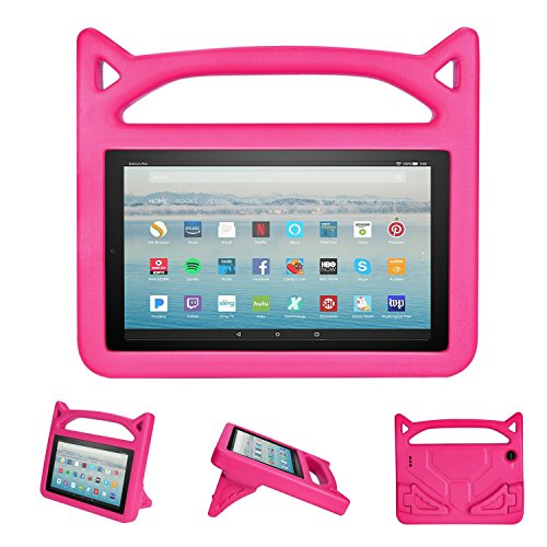 Fire HD 8 2017 / Fire HD 8 2016 Kids Case - Gogoing Light Weight Shockproof Cartoon Cover with Carrying Handle Stand Protector for New Amazon Fire 8 Tablet (2017/2016 Release) Pink by GOGOING