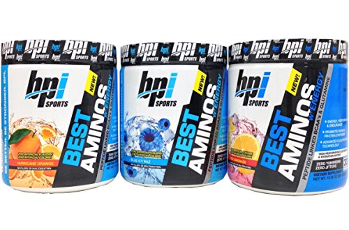 BPI Sports Best Aminos with Energy Peptide Linked BCAAs and Glutamine Supplement, Hurricane Orange + Blue Icy Raz + Red Lemonade, 10.58 oz Trio