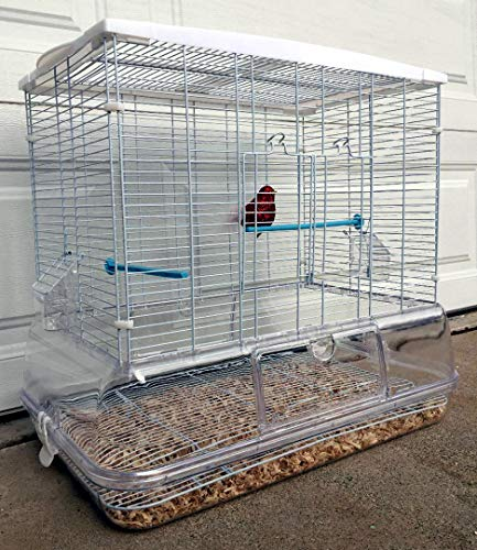 Mcage Large Flight Bird Cage for Cockatiel Canary Finch Budgies Aviary Parakeet with Easy Clean No Mess Detachable Clear Transparent Base (White)