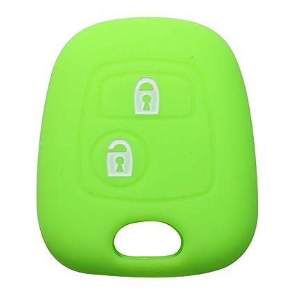 YLC Protector de Llave de Coche de Silicona Car Key Cover Skin Jacket para Llave Peugeot & Citroen 2 botón(Verde)