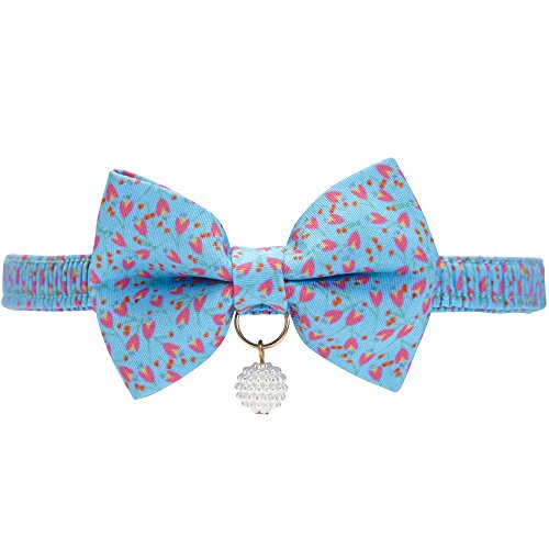 Blueberry Pet 18 Designs Blue Tulip Floral Breakaway Bowtie Cat Collar Choker Necklace with Handmade Bow Tie and Pearl Charm, Safety Elastic Stretch Collar for Cats, Neck 8.5