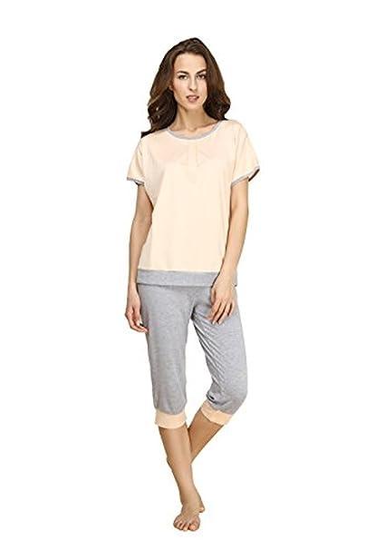 EWEMALL Mujeres seda de verano de manga corta para pijama pijamas cortos pijamas Set Color1 extra