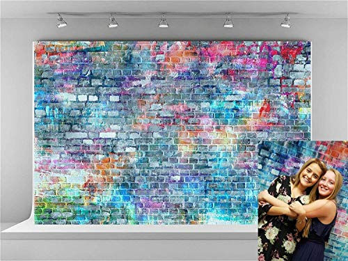 (Kate 10x6.5ft Colorful Brick Wall Photography Backdrops Painting Graffiti Backdrop Rustic Rainbow Brick Background for Photography)