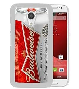 Popular Custom Designed Case For Motorola Moto G 2nd Generation With Budweiser White Phone Case