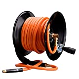 "WYNNsky Steel Manual Air Hose Reel Include 3/8"" x50FT PVC Air Compressor Hose with 1/4"" MNPT Brass Endings. Lead-in Hose Bonus"