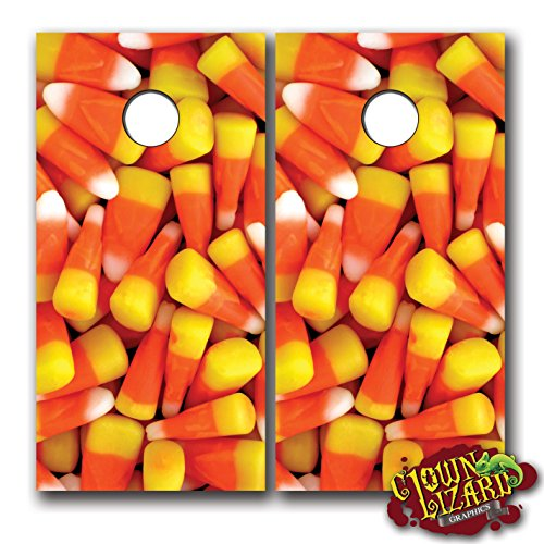 CL0014 Candy Corn CORNHOLE LAMINATED DECAL WRAP SET Decals Board Boards Vinyl Sticker Stickers Bean Bag Game Wraps Vinyl Graphic Halloween Thanksgiving Fall Autumn Image Corn Hole