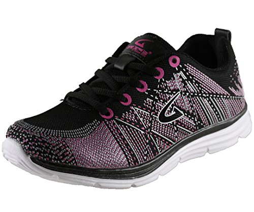 Geers Women's 1831 Black/Fuchsia Casual Athletic Fashion Sneaker – 7 M US