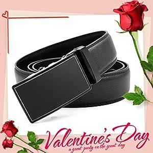 Mens Belt Genuine Leather Fashion Belt Automatic Sliding Ratchet Adjustable Black Belt