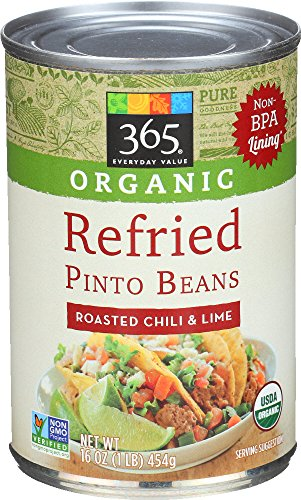 Veggie Chili - 365 Everyday Value Organic Refried Beans Roasted Chili & Lime, 16 Ounce