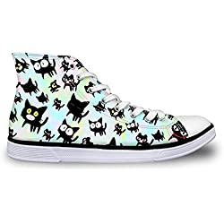Coloranimal Cute Cat Printed High Top Women Flats Sneakers Classic Canvas Vulcanized Shoes US10