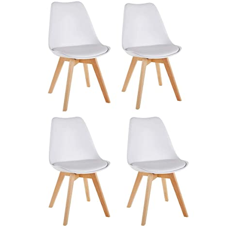 Beautiful Millhouse Tulip Dining Chair Natural Solid Wood Legs With Cushioned Pad Contemporary  Designer For Office Lounge Dining Kitchen (White, 4): Amazon.co.uk: ...