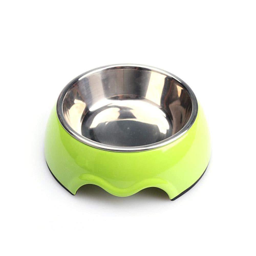 Daeou Ciotola del cane Pianura animali cibo ciotola antiscivolo in acciaio inox cane da tavola 11x14x4.5cm