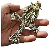 Men's Large 5.5'' Ankh Cross Pendant W 32'' Rope Chain Hip Hop Necklace,Ancient Gold