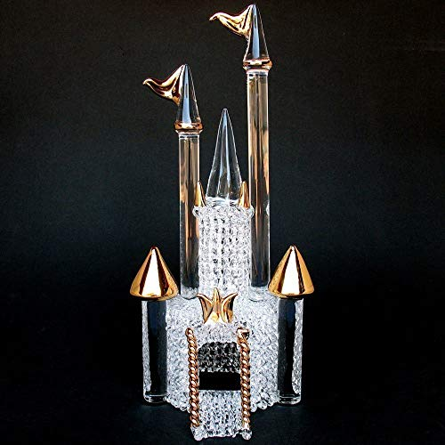Castle Wedding Cake Topper of Hand Blown Glass and Gold ()