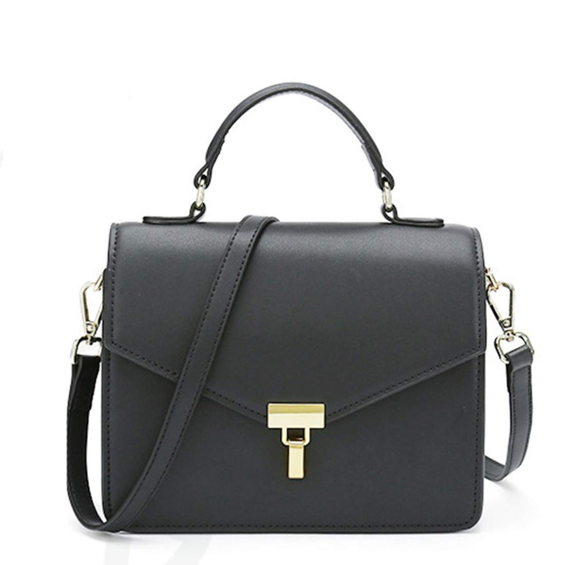 RABILTY Simple Retro Lock Solid Color Square Leather Shoulder Bag Messenger Bag Color : Black