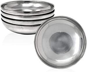 Eutuxia Korean Stainless Steel Banchan Plate, Set of 4. Traditional, Insulated, Hygienic Round & Unbreakable Side Dish Plate. Keep Your Food Warm w/Metal Plate. Made in Korea.