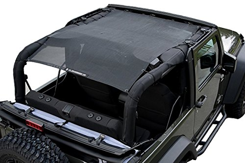 ALIEN SUNSHADE Jeep Wrangler Mesh Shade Top Cover with 10 Year Warranty Provides UV Protection for Your 2-Door JK (2007-2017) Original Black