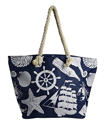 Peach Couture Anchor Print Large Travel Tote Bags Shoulder Bags Handbags (Blue)