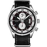 Stuhrling Original Men's Analog Watch – Stainless Steel True Dual Time Zone GMT W/Date Sports Watch – Comfortable, Durable NATO Nylon Strap – 845 Series (Black/Black)