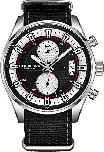 (Stuhrling Original Men's Analog Watch - Stainless Steel True Dual Time Zone GMT W/Date Sports Watch - Comfortable, Durable NATO Nylon Strap - 845 Series)