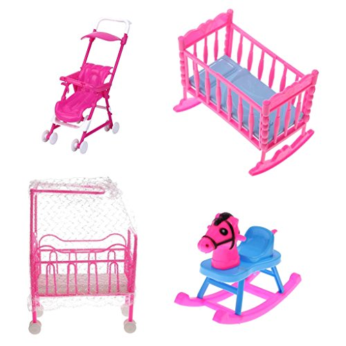 MonkeyJack Pink Baby Cot Bed + Rocking Bed + Baby Stroller + Rocking Horse Nursery Room Accessory for 10cm/3.94inch Dolls