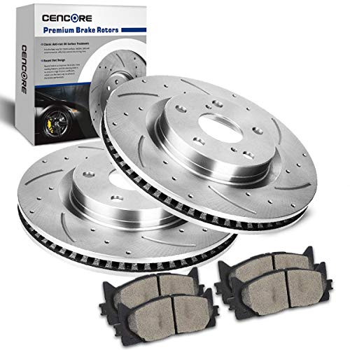 CENCORE  Front Brake Disc Kit Cross Drilled & Slotted 2 Brake Rotors & 4 Ceramic Brake Pads Compatible with 2007-2011 Toyota Camry 2008-2014 Toyota Avalon 2007-2013 Lexus ES350 2013 Lexus ES300h