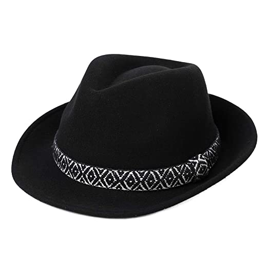 ff84143d3ac Womens Winter 100% Wool 1920s Gatsby Fedora Gangster Derby Jazz Manhattan  Hat for Men Black