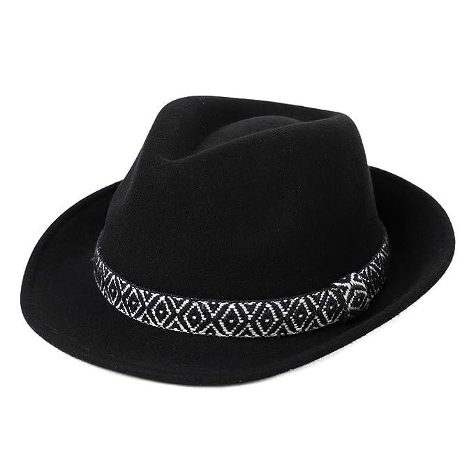 Womens Winter 100% Wool 1920s Gatsby Fedora Gangster Derby Jazz Manhattan  Hat for Men Black d6d62f512d66