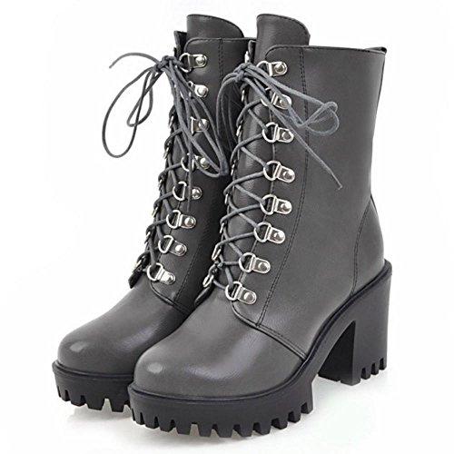 Platform Grey Women Boots Stylish TAOFFEN Heel Chunky qZ1FIYw