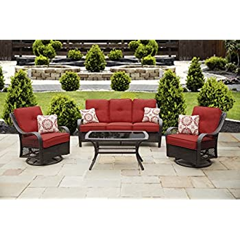 e98a1a3665 Amazon.com  Hanover GRAMERCY4PC-NVY Outdoor Furniture Gramercy 4 ...