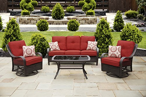 (Hanover ORLEANS4PCSW-B-BRY Orleans, Autumn Berry Outdoor 4 Piece All-Weather Patio Set )
