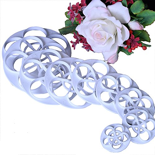 11pcs set Rose Flower Cutters Set Sugar Paste Baking Mould Cookie Pastry Plunger Cutter Kitchen Tool
