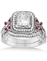 Ruby Square Halo Butterfly Bridal Set Palladium 0.51ct (No center stone included)
