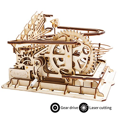ROBOTIME 3D Wooden Laser-Cut Puzzle DIY Assembly Craft Kits Waterwheel Coaster with Steel Balls Best Birthday Gifts for Adults and Kids Age 14 +