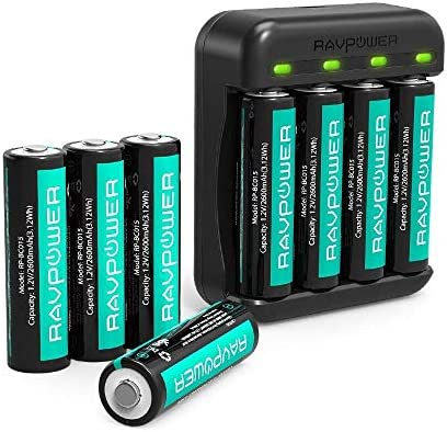 Rechargeable AA Batteries RAVPower 8 Pack 2600m...