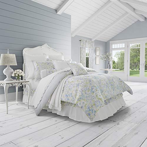 Flora Floral Comforter - Five Queens Court Flora 100% Cotton Floral Print Fine Linen 4 Piece Comforter Set, Blue, Cal King