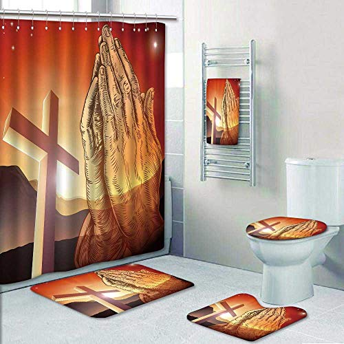 - Philip-home 5 Piece Banded Shower Curtain Set Christian Cross and Praying Hands Shower Curtain/Toilet seat/Bath Towel